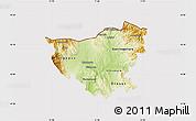 Physical Map of Kumanovo, cropped outside