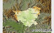 Physical Map of Kumanovo, darken