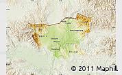 Physical Map of Kumanovo, lighten