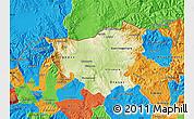 Physical Map of Kumanovo, political outside