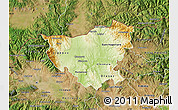 Physical Map of Kumanovo, satellite outside