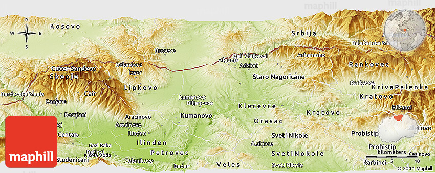Physical Panoramic Map of Kumanovo