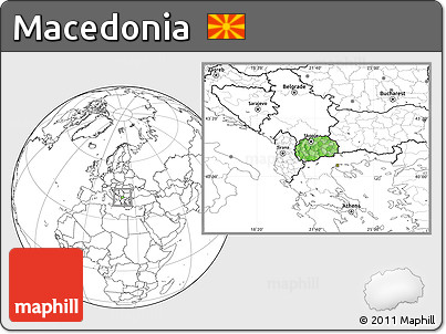 Free Political Location Map of Macedonia blank outside