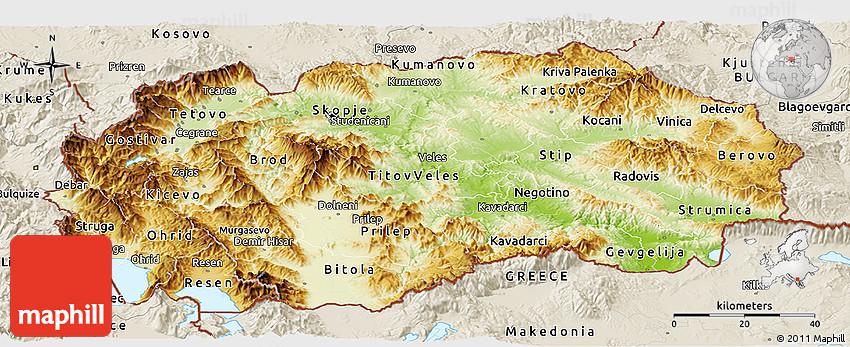 Physical Panoramic Map of Macedonia shaded relief outside