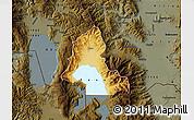 Physical Map of Resen, darken