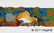 Political Panoramic Map of Resen, darken