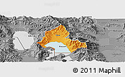 Political Panoramic Map of Resen, desaturated
