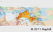 Political Panoramic Map of Resen, lighten