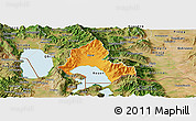 Political Panoramic Map of Resen, satellite outside