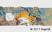 Political Panoramic Map of Resen, semi-desaturated