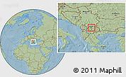 Savanna Style Location Map of Gazi Baba, hill shading