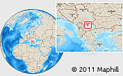 Shaded Relief Location Map of Gazi Baba, highlighted country, within the entire country