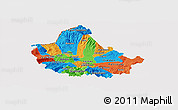 Political Panoramic Map of Skopje, cropped outside