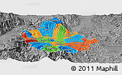 Political Panoramic Map of Skopje, desaturated