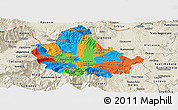 Political Panoramic Map of Skopje, shaded relief outside