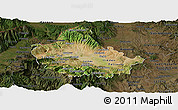 Satellite Panoramic Map of Skopje, darken