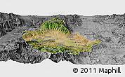 Satellite Panoramic Map of Skopje, desaturated