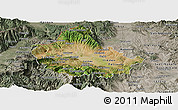 Satellite Panoramic Map of Skopje, semi-desaturated
