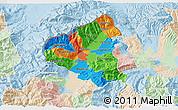 Political 3D Map of Tetovo, lighten