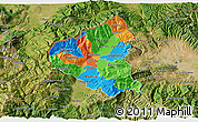 Political 3D Map of Tetovo, satellite outside