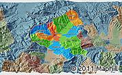 Political 3D Map of Tetovo, semi-desaturated