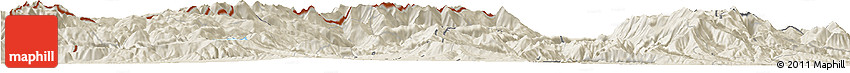 Shaded Relief Horizon Map of Tetovo
