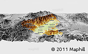 Physical Panoramic Map of Tetovo, desaturated