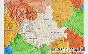 Shaded Relief Map of Titov Veles, political shades outside