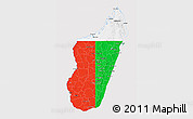 Flag 3D Map of Madagascar, flag aligned to the middle