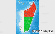 Flag 3D Map of Madagascar, physical outside