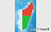 Flag 3D Map of Madagascar, political outside