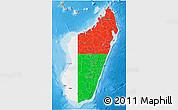Flag 3D Map of Madagascar, political shades outside