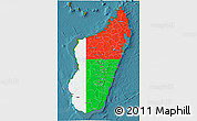 Flag 3D Map of Madagascar, satellite outside