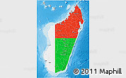 Flag 3D Map of Madagascar, shaded relief outside