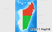 Flag 3D Map of Madagascar, single color outside, bathymetry sea