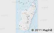 Gray 3D Map of Madagascar, single color outside