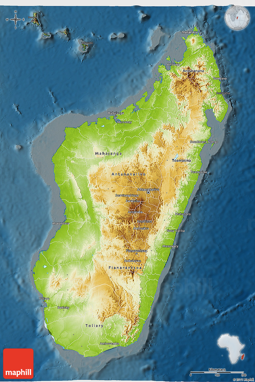 Topographic Map Of Madagascar.Topographic Map Of Madagascar