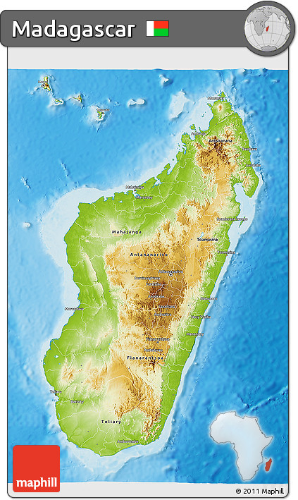 Physical 3D Map of Madagascar