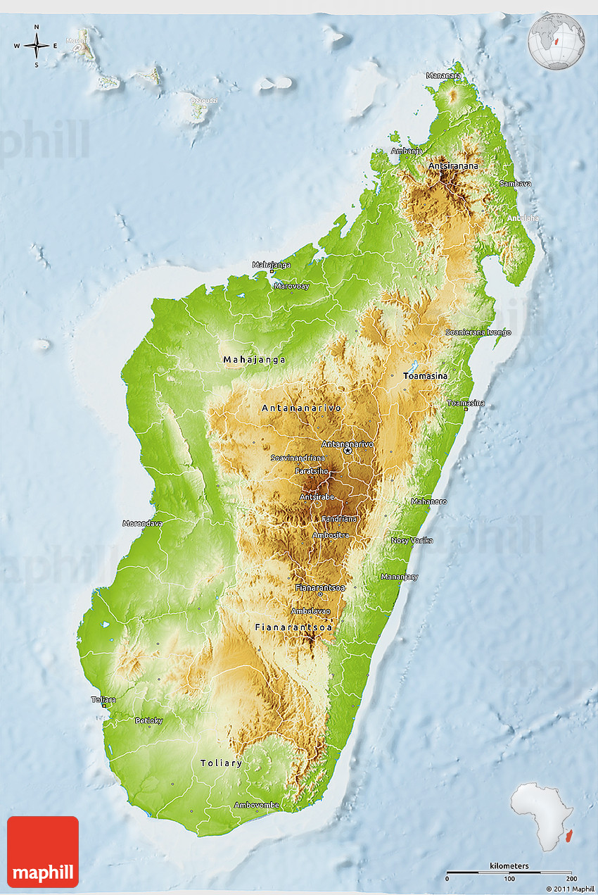 Physical D Map Of Madagascar Lighten - Madagascar map