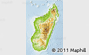 Physical 3D Map of Madagascar, lighten