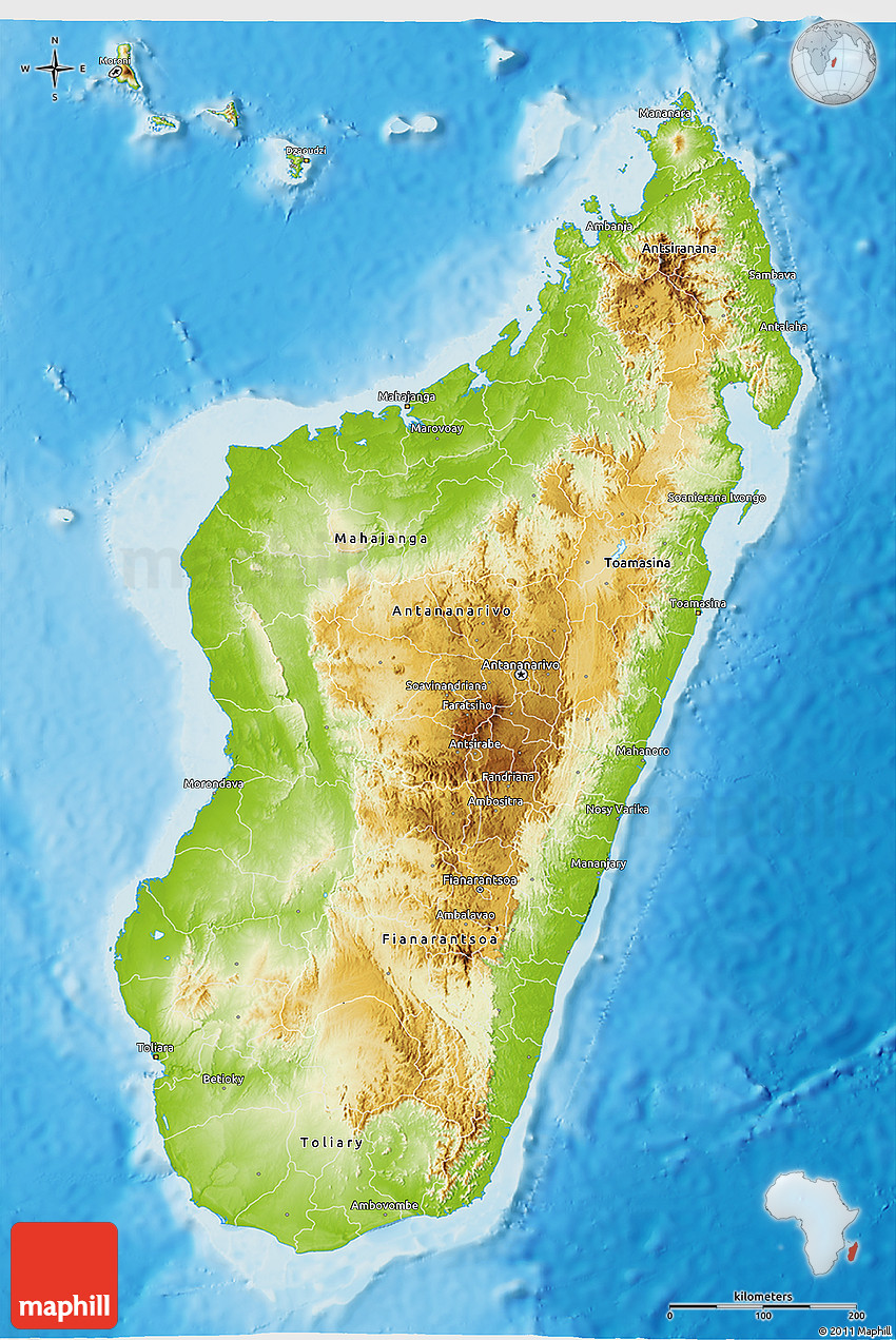 Physical D Map Of Madagascar - Madagascar map