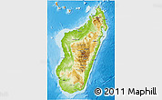 Physical 3D Map of Madagascar, political outside, shaded relief sea