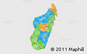 Political 3D Map of Madagascar, cropped outside