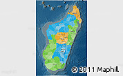 Political 3D Map of Madagascar, darken