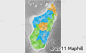 Political 3D Map of Madagascar, desaturated