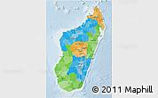 Political 3D Map of Madagascar, lighten