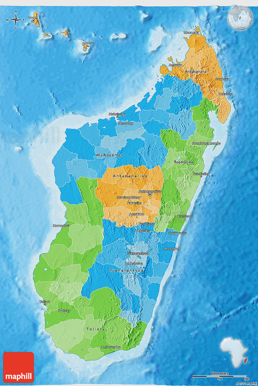 Political 3D Map of Madagascar