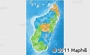 Political 3D Map of Madagascar, political shades outside