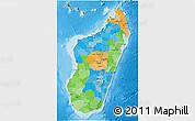 Political 3D Map of Madagascar, satellite outside, bathymetry sea