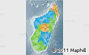 Political 3D Map of Madagascar, semi-desaturated